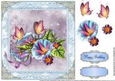Beautiful Morning Glory Blue Card Topper 8x8