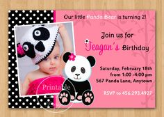 Panda Bear Girl Birthday Invitation  Custom by printablecandee, $10.00>>  For Lilys 2nd birthday these will be the invites!