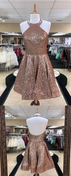 Prom Dresses Beautiful, Rose Gold Halter Sleeveless Backless Sequin Short Homecoming Dresses, Looking for the perfect prom dress to shine on your big night? Prom Dresses 2020 collection offers a variety of stunning, stylish ball. Dama Dresses, Next Dresses, Hoco Dresses, Cheap Prom Dresses, Stylish Dresses, Bridesmaid Dresses, Wedding Dresses, Backless Dresses, Rose Gold Quinceanera Dresses