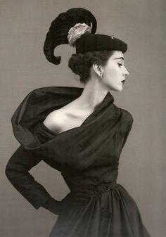 Classic Beautiful...  Dovima, circa 1950's  Photographer: Richard Avedon  Dress by Balenciaga