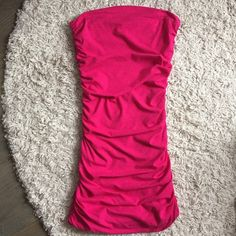 Strapless Ruched Dress Gorgeous hot pink strapless dress with ruching at the sides. Tight fit looks great with heels and statement earrings for a party or night out. In perfect condition. Express Dresses Strapless