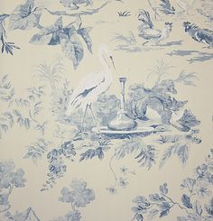 Aesop's Fables Wallpaper Large floral toile de jouy design with hidden birds and animals, in blue on cream.  this would be precious for a baby boy nursery with tall wainscoting and the paper a third of the wall...