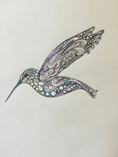 Hummingbird Original Zentangle Art Hand by TheChaoticPawPrints Hummingbird Colors, Hummingbird Drawing, Colorful Hummingbird Tattoo, Quilling Patterns, Zentangle Patterns, Bird Outline, Sister Tattoos, Tattoos With Meaning, Body Art Tattoos