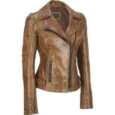 Women's Black Rivet Quilted Elbow Leather Jacket