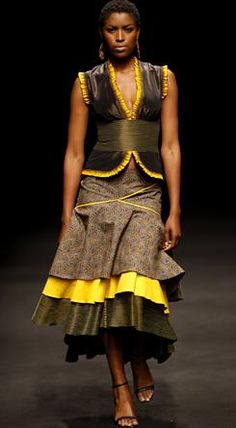 Young South African fashion designer Thabo Makhetha uses a 'traditional' Basotho blanket for a coat. South African Fashion, African Fashion Designers, African Inspired Fashion, Africa Fashion, African Dresses For Women, African Attire, African Wear, African Women, Mode Wax
