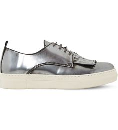 DUNE BLACK - Eddy fringed leather flatform trainers | Selfridges.com