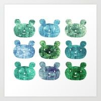 9 Smile Bears -blue- Art Print
