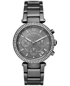 Michael Kors Women's Chronograph Parker Gunmetal Ion-Plated Stainless Steel Bracelet Watch