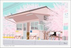 """It is an illustration of """"TABINEKO"""" where I pictured a black cat doing a trip in Japan."""
