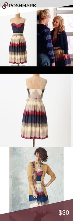Anthropologie Strapless Dress Color dipped southwestern style the die dress. Boning in bodice. Cotton / Linen material. Sash is missing but can be worn with any belt. Price reflects missing sash. Purchased at Anthropologie corey lynn calter Dresses Strapless