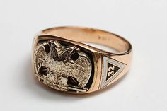 Antique 10K Two Color Gold Masonic Ring Mason 32