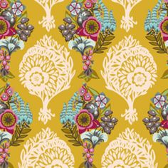 This might be it. Anna Maria Horner fabric:Loves Lovesmenot in Golden from Hawthorne Threads
