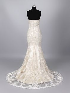 champagne trumpet wedding gown | ... Court Train Trumpet Mermaid Champagne Wedding Dress LD0659 for $578.00