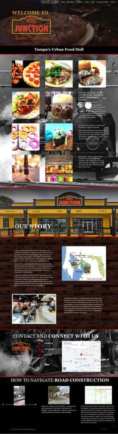 Website for urban railroad-themed food hall Road Construction, Service Awards, Food Themes, Deli, Web Design, Urban, Website, Creative, Design Web