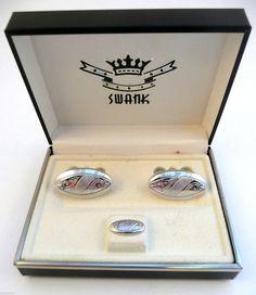 Vintage 1950s 60s SWANK Engraved Silvertone Cufflinks & Tie Tac SET in Orig Box #Swank
