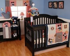 I have a feeling my future kid will have a room similar to this. Mickey Mouse Crib Bedding