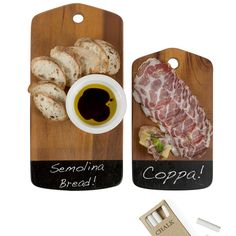 Serving boards with a chalk board end. I love this idea! Chalk Serving Board Small by Core Acacia | Fab.com