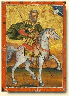 Saint Menas - exhibited at the Temple Gallery, specialists in Russian icons Orthodox Icons, Agnus Dei, Russian Art, Painting, Art, Wall Painting, Christian Art, Sacred Art