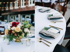 Romantic Downtown Lakeland Wedding on Kentucky Avenue | Orlando Wedding Photographer | Lush peony and garden roses as centerpieces | Gold flatware | Placesettings with greenery