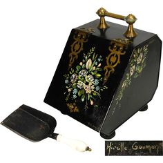 Antique Victorian Era Toleware Coal Scuttle, Hand Painted & Signed, Orig. Inner Liner