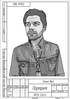 Another portrait in engineering drawing style inspired by Simon Neil from Biffy Clyro.