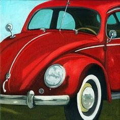 Painting a Day Art Blog Original Oil Paintings on Canvas by Linda Apple Classic Vintage VW Bug Vintage car