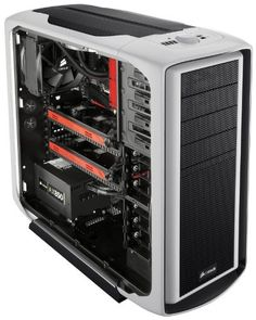 Corsair CC600TWM-WHT Special Edition Graphite Series 600T Mid Tower Gaming Computer Case - White  Inside the streamlined design of the Graphite 600T is a wealth of functionality that makes your build easier and enhances your computing experience.Building a clean-looking, well-cooled system is easier and faster than ever with our innovative cable routing design, tool-free drive bays, dual 200mm fans with integrated fan controller, and CPU backplate cutout. Fitting even the largest video cards...