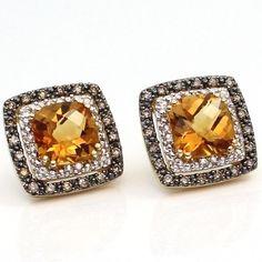 $999.99 New LeVian 14K yellow gold citrine .5ct chocolate diamond earrings