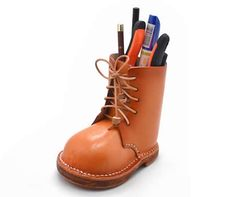 Classic Handmade Leather Boots Style Storage Shoes Pen Holder Cool Office Supplies, Cute Notebooks, Boots Style, Shoe Storage, Pen Holders, Office Gifts, Handmade Leather, Fashion Boots, Rubber Rain Boots