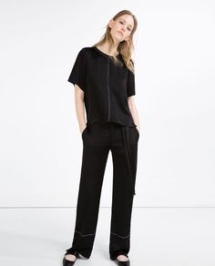 WIDE - LEG STUDIO TROUSERS-View all-WOMAN-NEW IN   ZARA United States