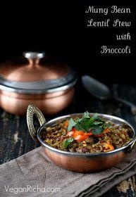 Vegan Richa: Broccoli Dal. Mung Bean and Lentil Stew with Broccoli and Mini Peppers. Vegan Glutenfree Recipe
