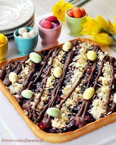 Mazurek - polish cake with cherry and chocolate