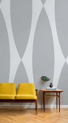 The sultry grey colour choice allows the Neutra Retro Pattern Wallpaper Mural to effortlessly assimilate with contemporary or dated interior decor. An elegant wallpaper print that creatively balances technique and colour. #wallpaper #murals #wallmurals #interior #interiordesign #design #home #homedecor #interiordecor #accentwall #inspiration #Ihavethisthingswithwalls #midcenturymodern