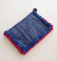 Hmong tribal clutch / indigo / pom poms