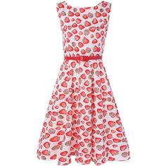 Sleeveless Strawberry Print Vintage Dress ($22) ❤ liked on Polyvore featuring dresses, pink dress, pink sleeveless dress, no sleeve dress, vintage sleeveless dress and vintage day dress