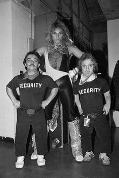 David Lee Roth with his bodyguards Jimmy and Danny, 1982