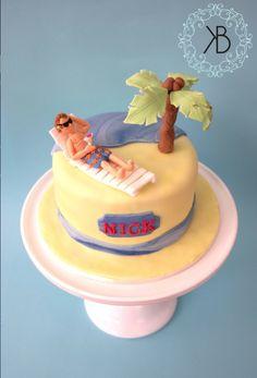 Island cake - vanilla triple sponge with edible fondant figures
