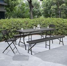 Gartentisch mit 2 Sitzbänken [klappbar]