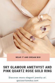 Charming Sky Glamour Amethyst and Pink Quartz Sterling Silver Ring for love ones #gosiaorlowska #quartzsterlingsilverring #amethyststerlingsilverring #sterlingsilverring
