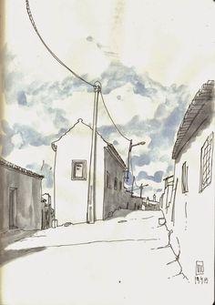 Urban Sketchers Portugal - illustration - old village - country side - ink and watercolor - love love the sky
