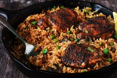 Chicken marinated in a delicious rub is seared beautifully & rice infused with so much flavor, so delicious that you won't stop eating.