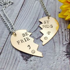 A personal favorite from my Etsy shop https://www.etsy.com/listing/541747993/broken-heart-pendant-set-best-friends