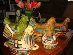 The girls that live at my house! All vintage Mexican Chicken casseroles.