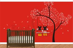 Mickey Mouse And Minnie Mouse On A Swing. Vinyl Wall por Round321