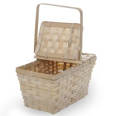 Rect Bamboo Weave Picnic Basket with Lid Small - Natural Lucky Clover Trading is a wholesale baskets distributor and importer of baskets wholesale through a wholesale gift basket suppplies company. Welcome Baskets, Gift Baskets, Wholesale Wicker Baskets, Cooking Shop, Picnic Birthday, Bamboo Weaving, Planning Board, Company Picnic, Weave