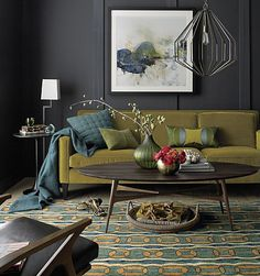 blue and green; carpet; floor lamp AND table