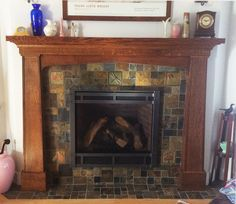 "Tiled fireplace using 6"" Accent tile from Fay Jones Day tile"