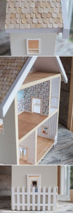 What an adorable little homemade dollhouse! Learn how to make your own, DIY doll house. Make your own dollhouse with these plans and ideas for a super cute Scandinavian themed miniature home. Best Doll House, Barbie Doll House, Barbie Kids, Homemade Dollhouse, Diy Dollhouse, Toddler Dollhouse, Homemade Barbie House, Castle Dollhouse, Barbie Furniture