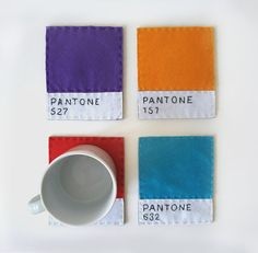 Felt Coasters Pantone by yastikizi on Etsy, $32.00