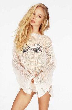 Fashion Women Sweater Loose Hole Pullover Sweater Tops Shell Bra Knitwear Mermaid Black